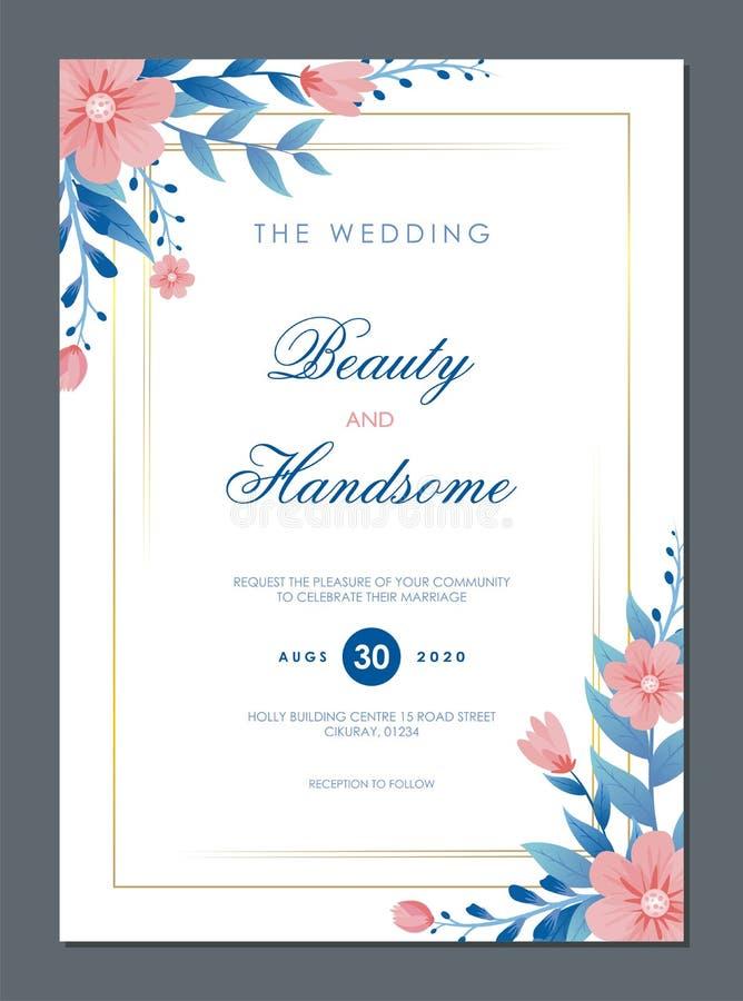 Bröllopinbjudankort med blom- prydnader royaltyfri illustrationer
