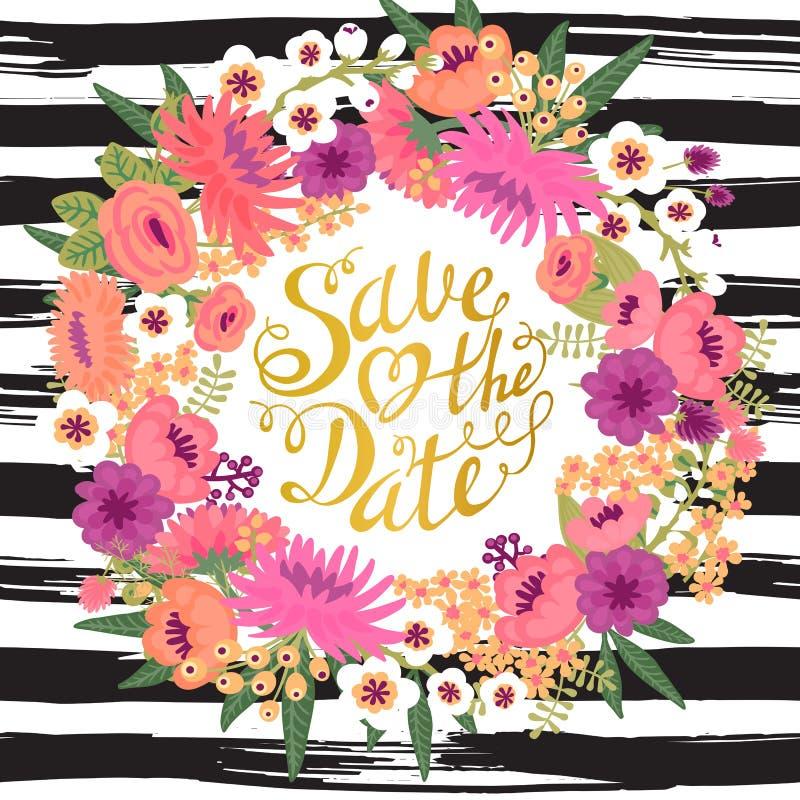 Bröllopinbjudankort med blommor och vektor illustrationer