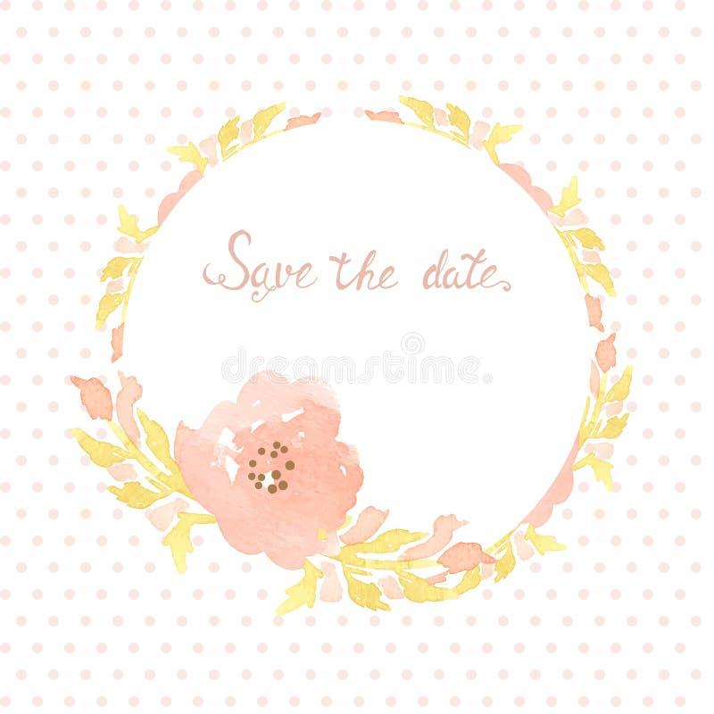 Bröllopinbjudankort med blommor på prickbakgrund Vattenfärgen målade designen med rosa färgrosen blommar och sidor vektor illustrationer