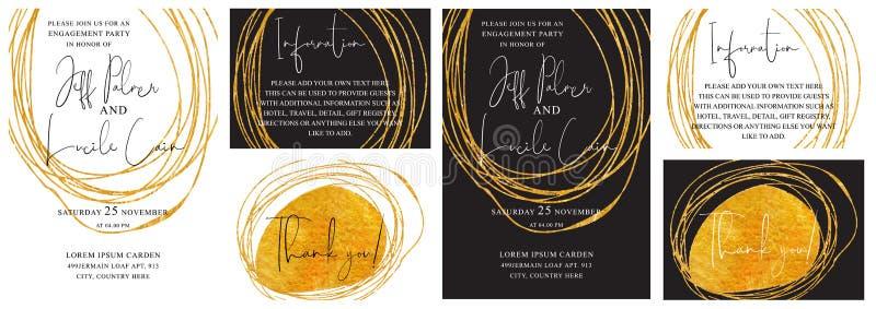 Bröllopinbjudankort med den drog guld- handen texturerar bakgrund och den guld- linjen designvektor stock illustrationer