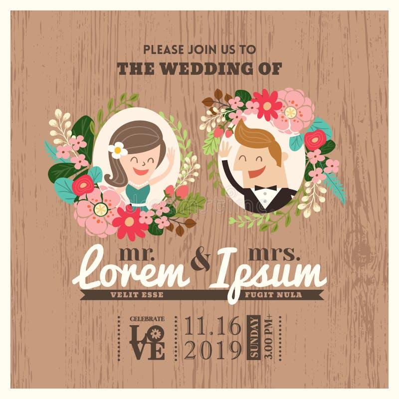 Bröllopinbjudankort med den gulliga brudgum- och brudtecknade filmen vektor illustrationer