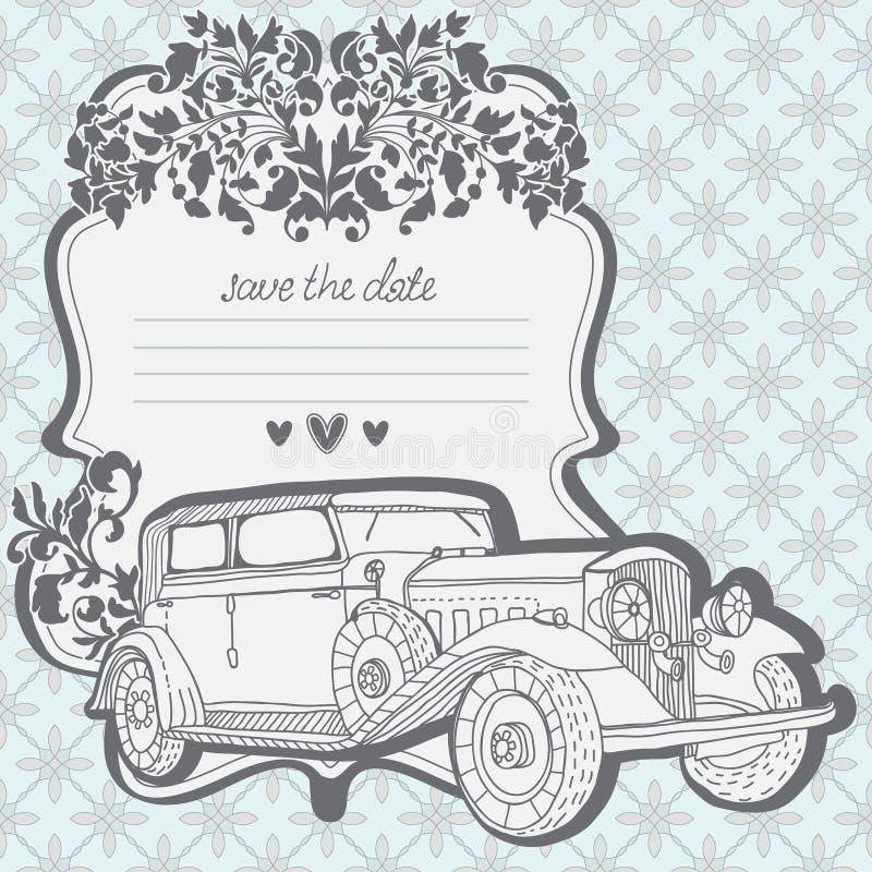 Bröllopinbjudankort med den retro bilen stock illustrationer