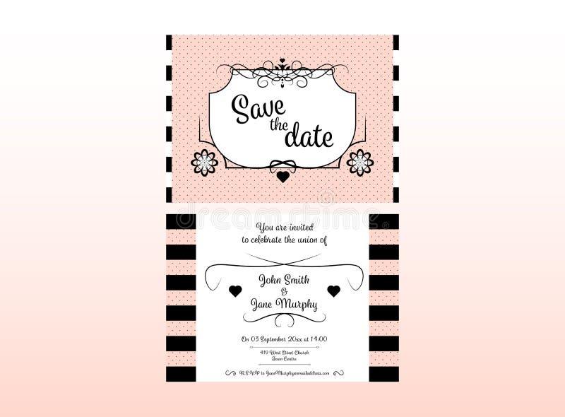 Bröllopinbjudankort med namn, datumet och mötesplatsen stock illustrationer