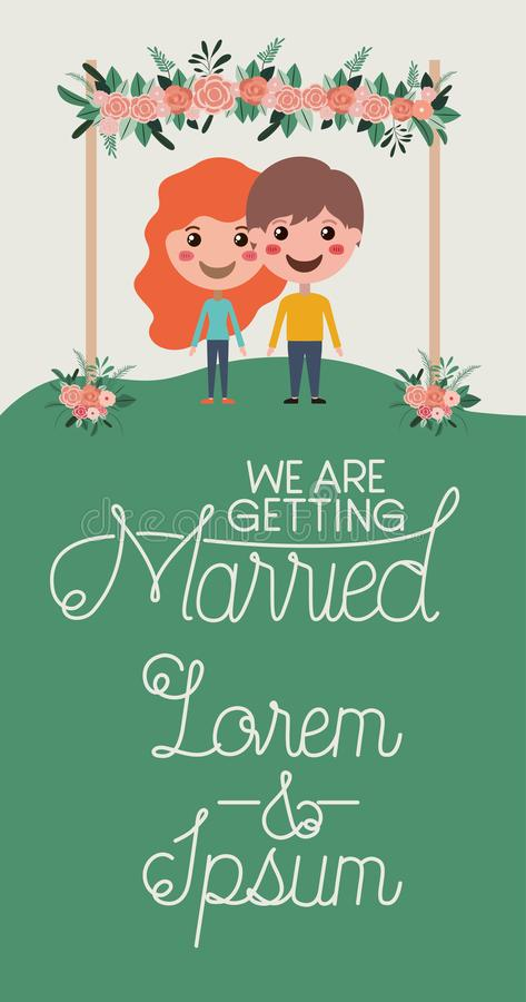 Bröllopinbjudankort med partecken vektor illustrationer