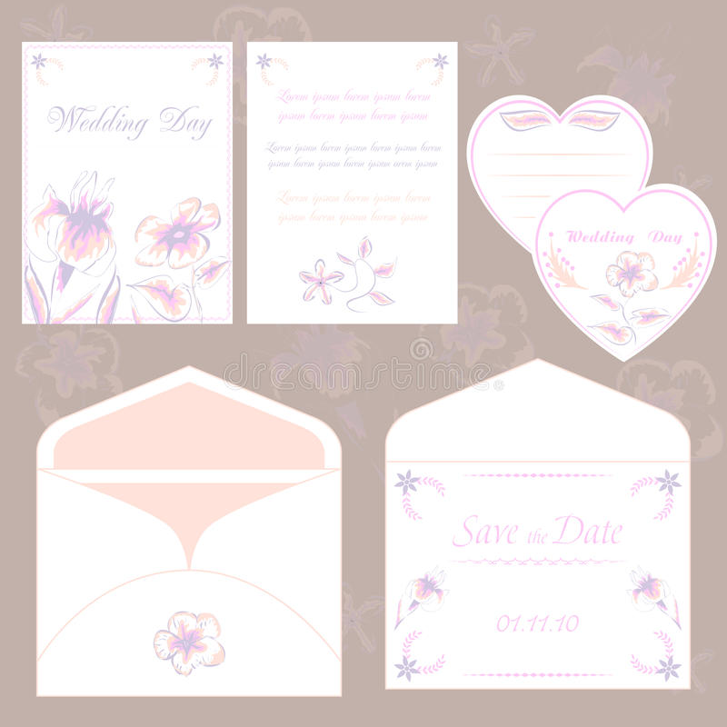Bröllopinbjudankort och kuvert, fastställd elegant flora för bröllop vektor illustrationer