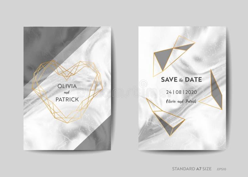 Bröllopinbjudankort, sparar datumet med moderiktig marmortexturbakgrund och guld- geometrisk ramdesign stock illustrationer