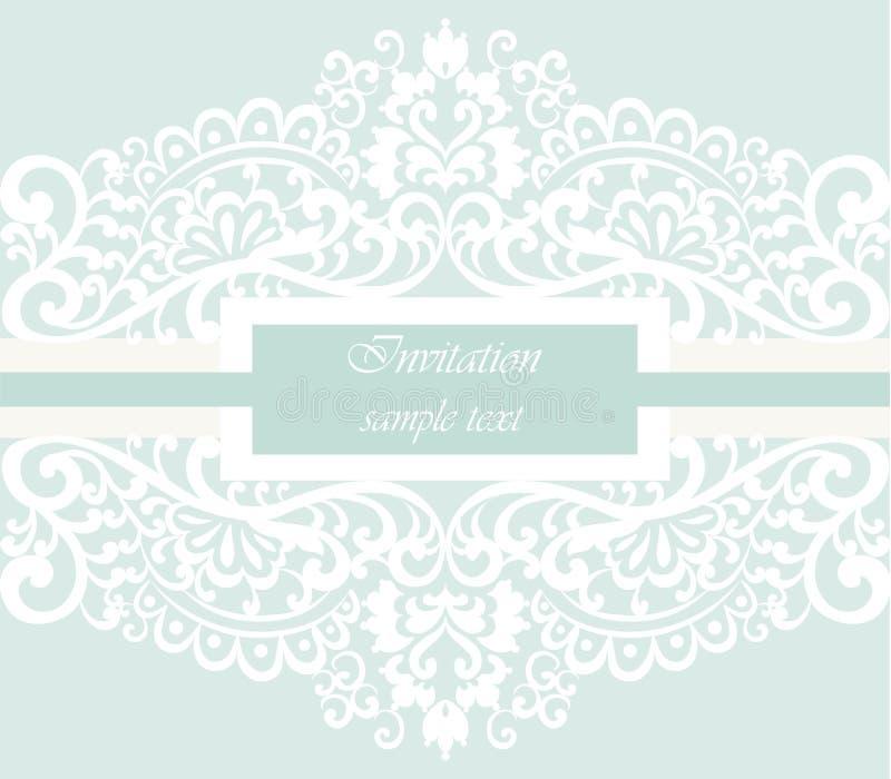 Bröllopinbjudankortet med snör åt prydnaden stock illustrationer