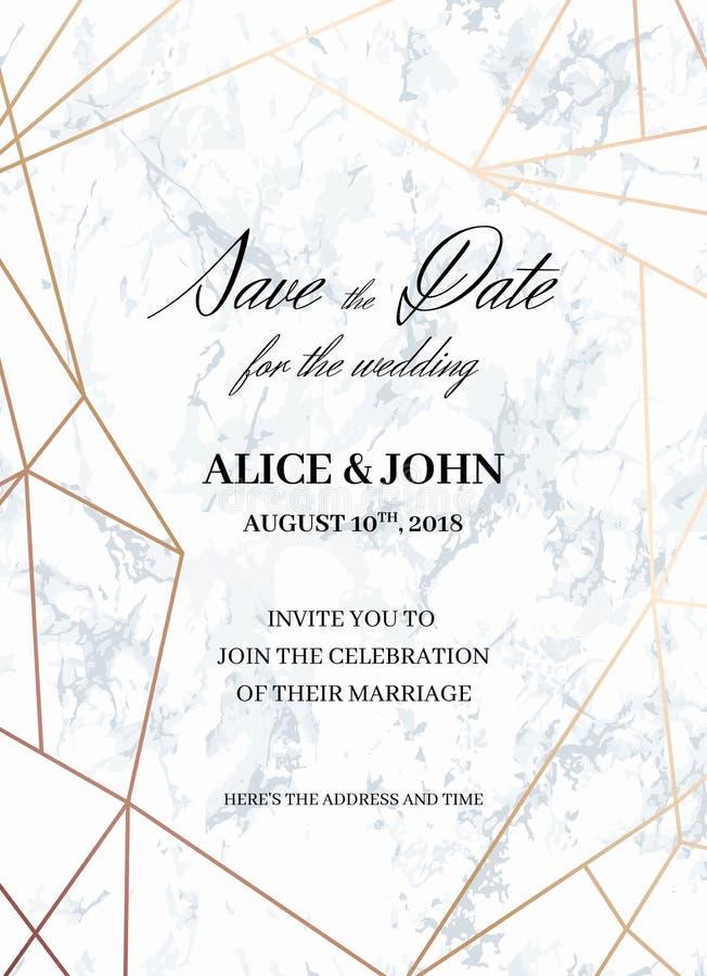 Bröllopinbjudanmall av den geometriska designen royaltyfri illustrationer