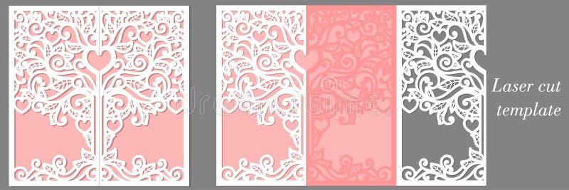 Bröllopinbjudanmall för den cuttingwedding inbjudanmallen för laser för laser-klipp stock illustrationer