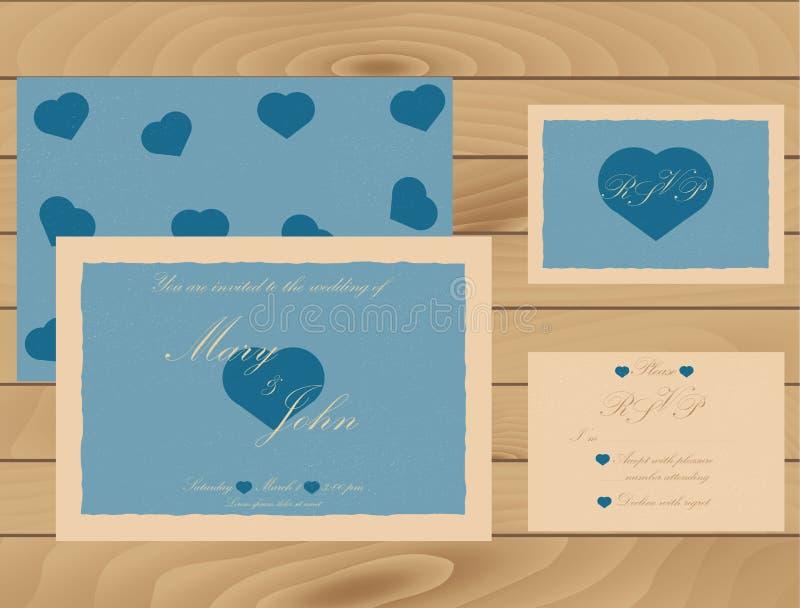 Bröllopinbjudanmall på trätextur RSVP-kort Tappningeffekt royaltyfri illustrationer