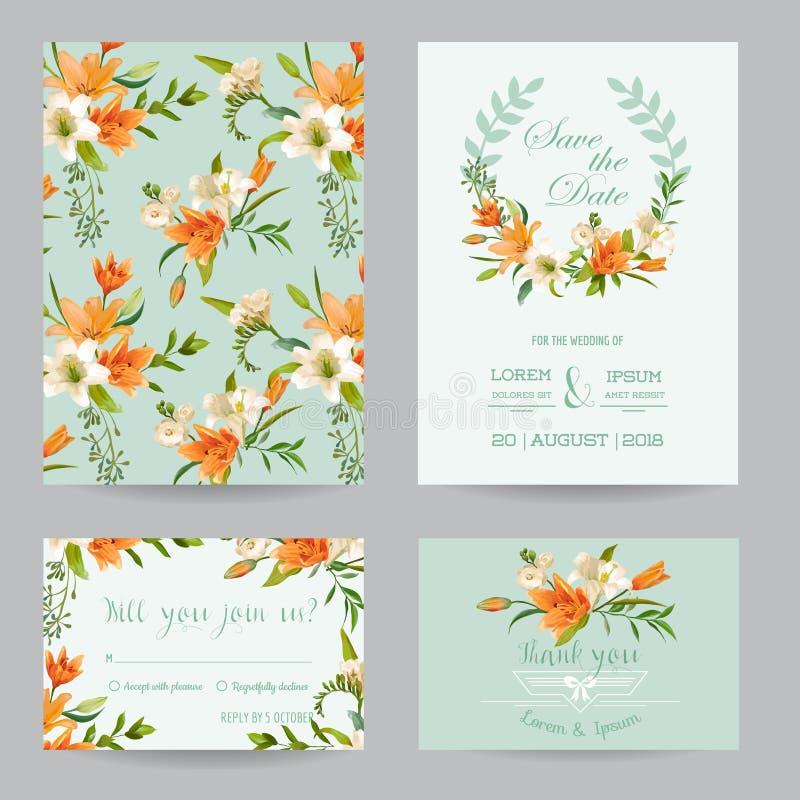 Bröllopinbjudanuppsättning - Autumn Lily Floral vektor illustrationer