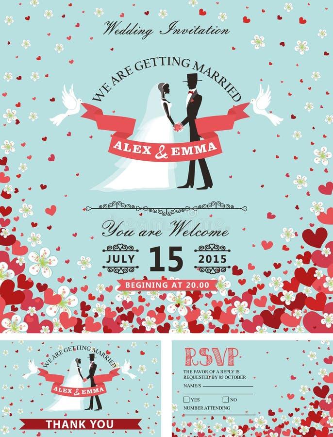 Bröllopinbjudanuppsättning Bruden brudgummen, fallande hjärtor, blommar vektor illustrationer