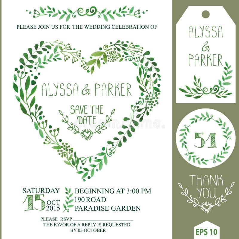 Bröllopinbjudanuppsättning Den gröna vattenfärgen förgrena sig hjärtakransen vektor illustrationer