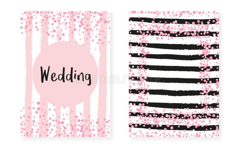 Bröllopinbjudanuppsättning med prickar och paljetter Brud- duschkort med rosa färger blänker konfettier royaltyfri illustrationer