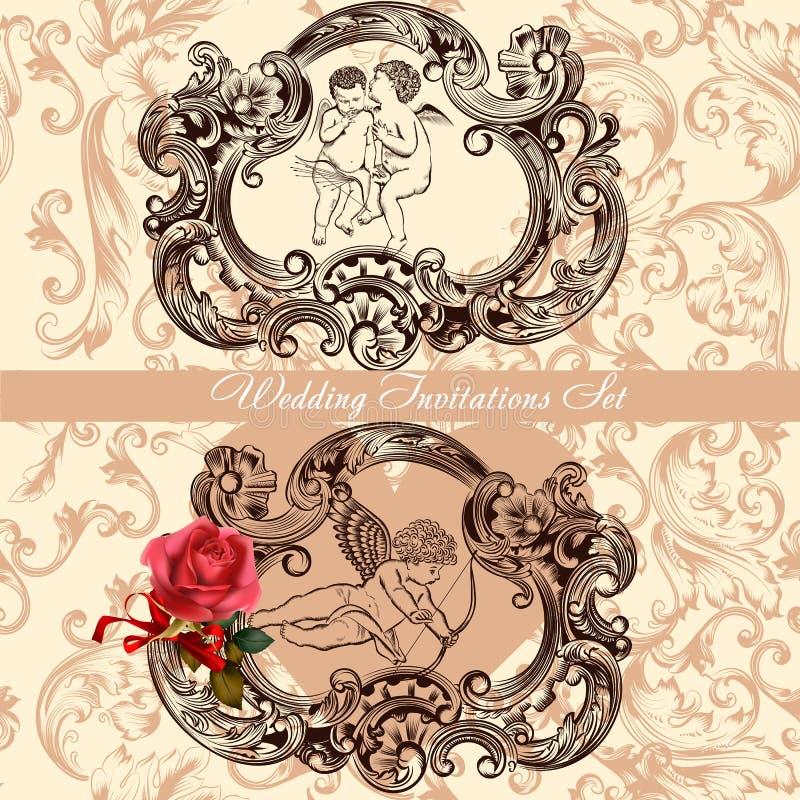 Bröllopinbjudanuppsättning med tappningdekoren stock illustrationer