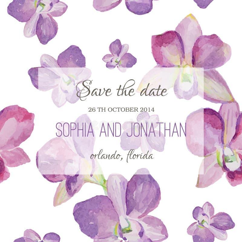 Bröllopinbjudanvattenfärg med orkidéblommor royaltyfri illustrationer