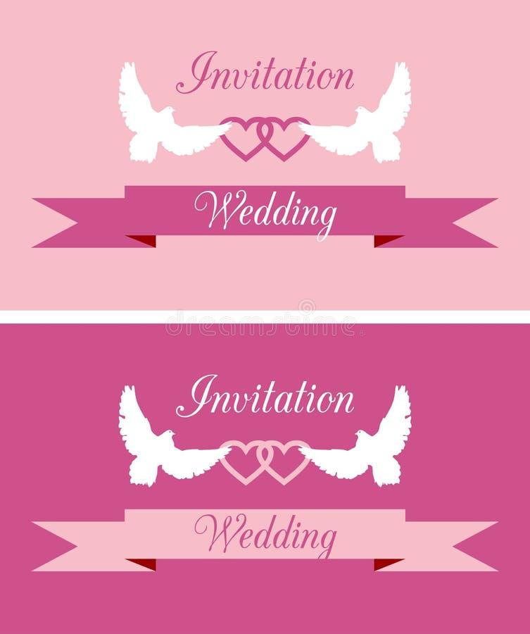 Bröllopinbjudningar stock illustrationer