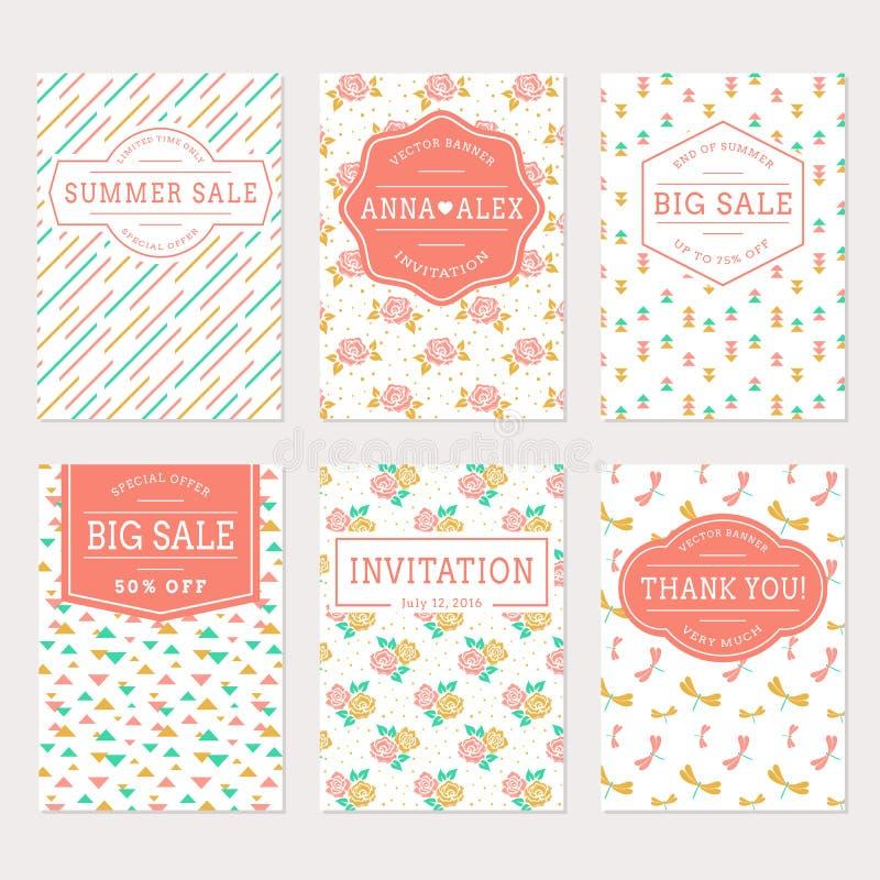 Bröllopinbjudningar, tacka dig för att card och försäljningsetiketter vektor illustrationer