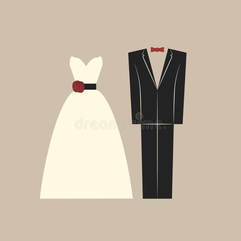 Bröllopkläder, brud och brudgumklänning och dräkt royaltyfri illustrationer