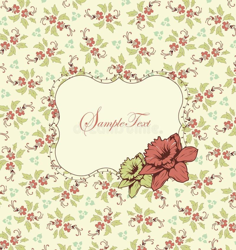 Bröllopkort eller inbjudan med blom- bakgrund stock illustrationer
