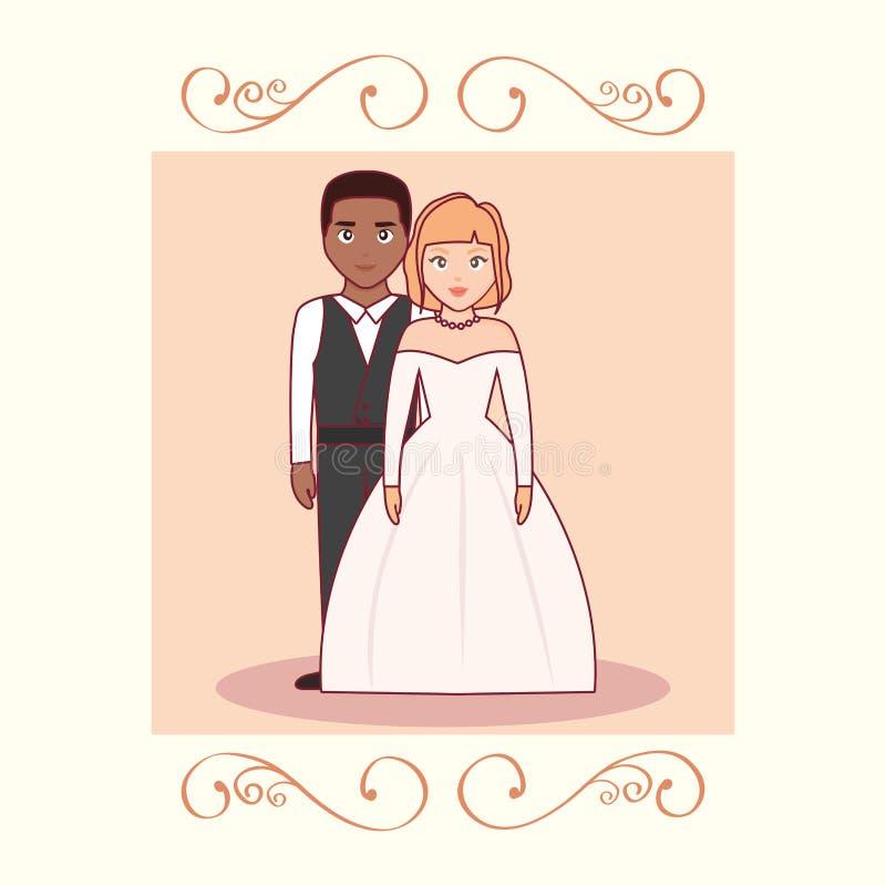 Bröllopkort med gifta paret stock illustrationer