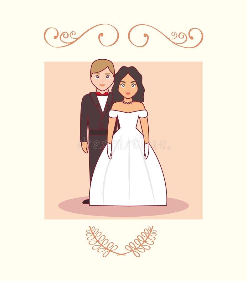 Bröllopkort med gifta paret royaltyfri illustrationer