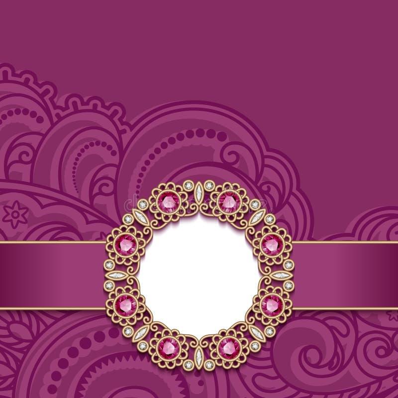 Bröllopkort med guld- smyckengarnering stock illustrationer
