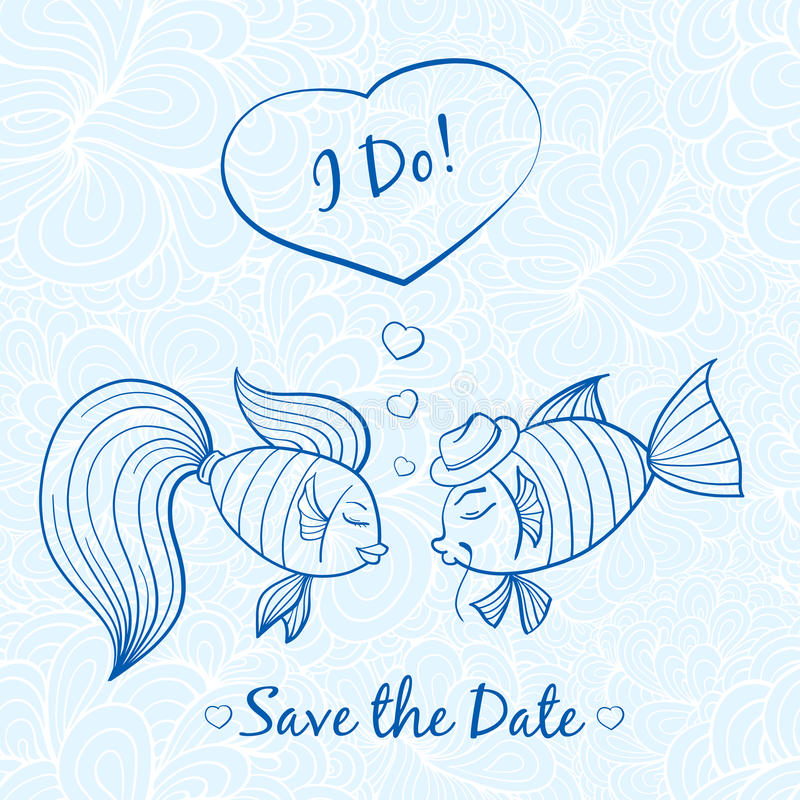 Bröllopkort med gulliga fiskar vektor illustrationer