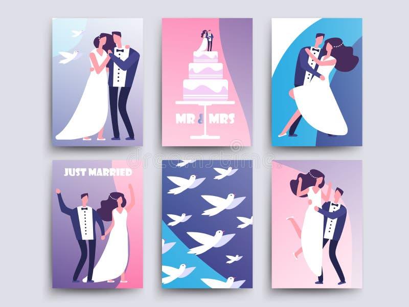 Bröllopkort med par för tecknad filmtecken, kaka, duvavektormall royaltyfri illustrationer