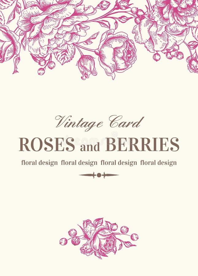 Bröllopkort med ro stock illustrationer
