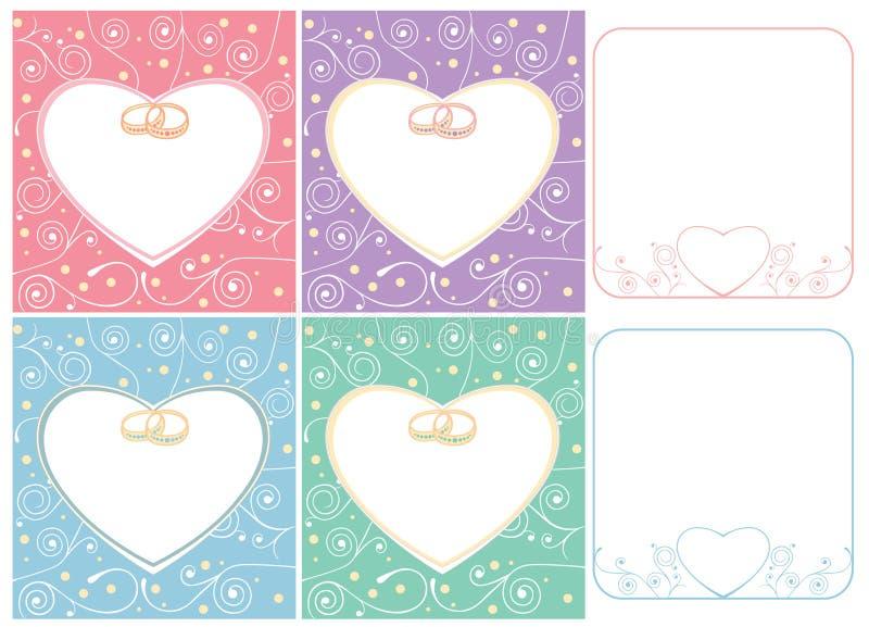 Bröllopkort och ramar med cirklar stock illustrationer