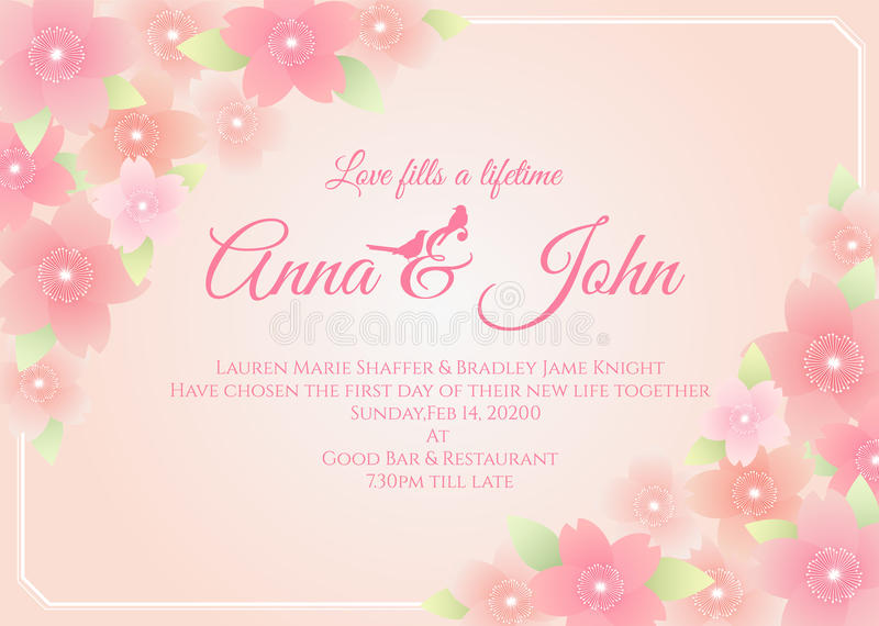 Bröllopkort - sakura blommaram på mjuk rosa design för bakgrundsvektormall stock illustrationer