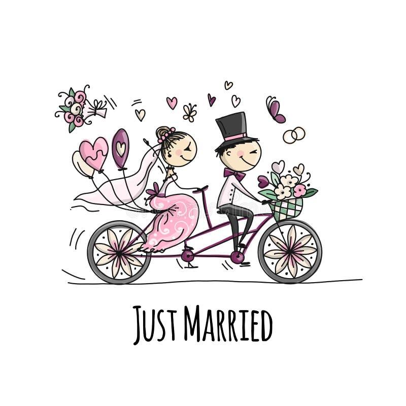 Bröllopkortdesign Brud- och brudgumridning på cykeln royaltyfri illustrationer