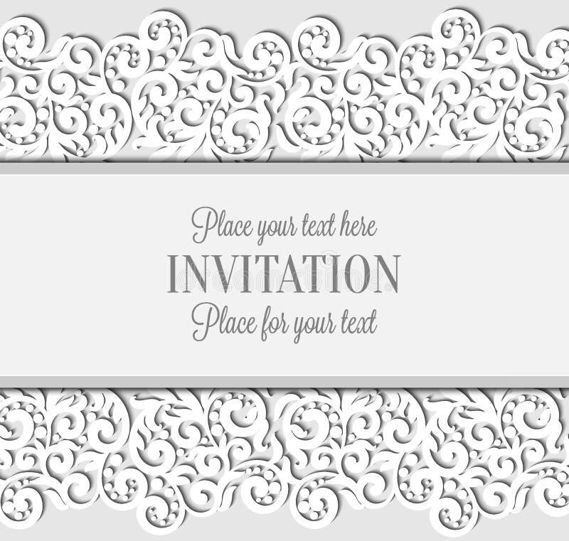 Bröllopkortet med papper snör åt ramen, spets- doily stock illustrationer