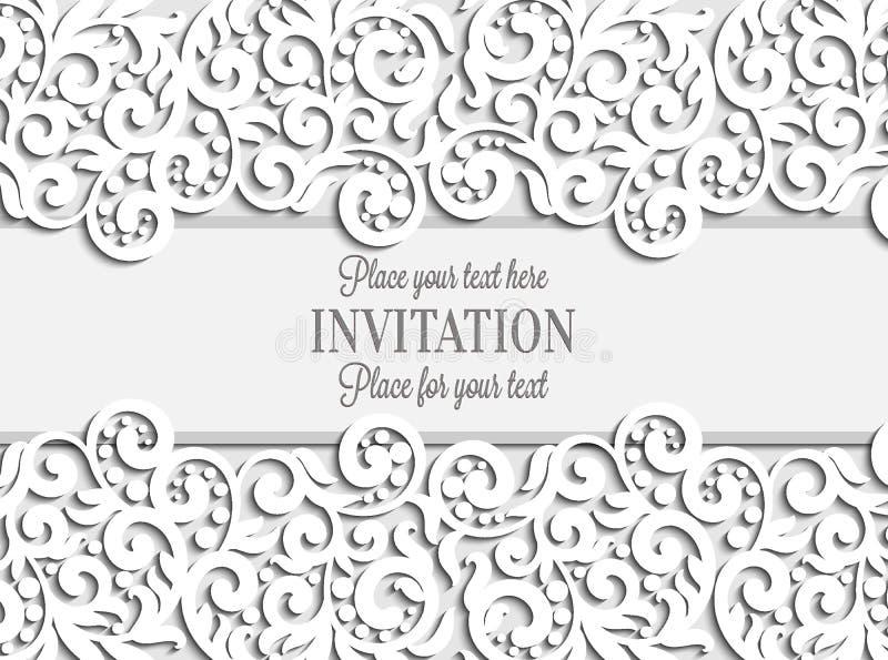 Bröllopkortet med papper snör åt ramen, spets- doily royaltyfri illustrationer