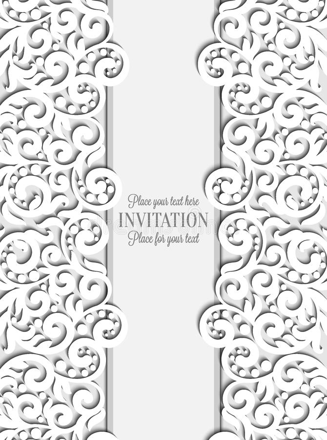 Bröllopkortet med papper snör åt ramen, spets- doily vektor illustrationer