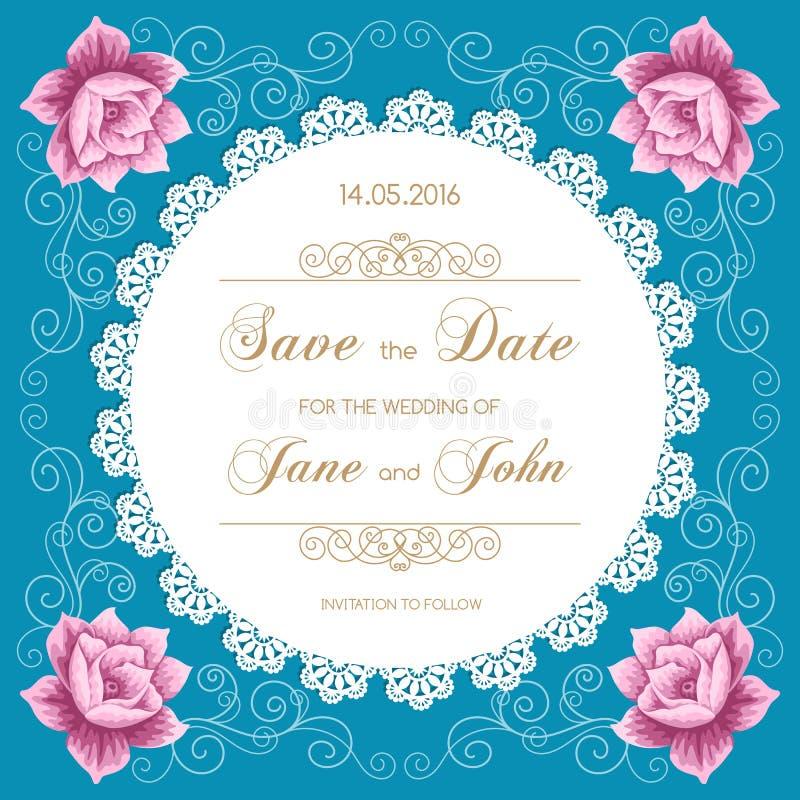 Bröllopkortet med snör åt doilyen vektor illustrationer