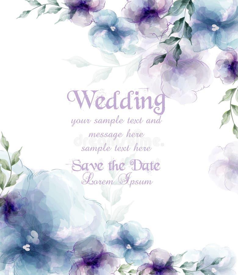 Bröllopkortet med vattenfärgblått blommar vektorillustrationer vektor illustrationer