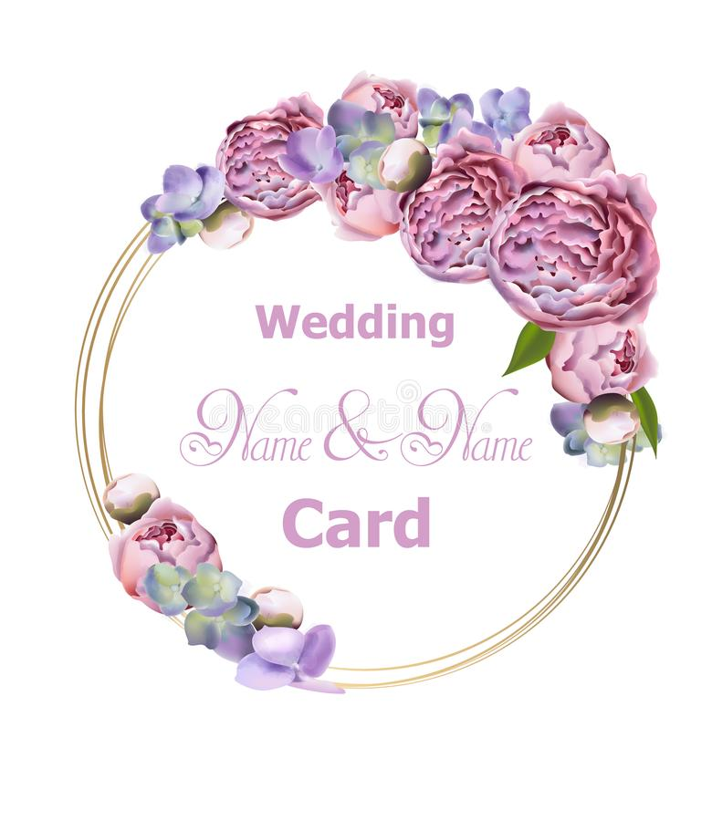 Bröllopkrans med vektorn för pionblommavattenfärg Dekor för vårtid Romantisk inbjudan Härliga blom- ramar vektor illustrationer