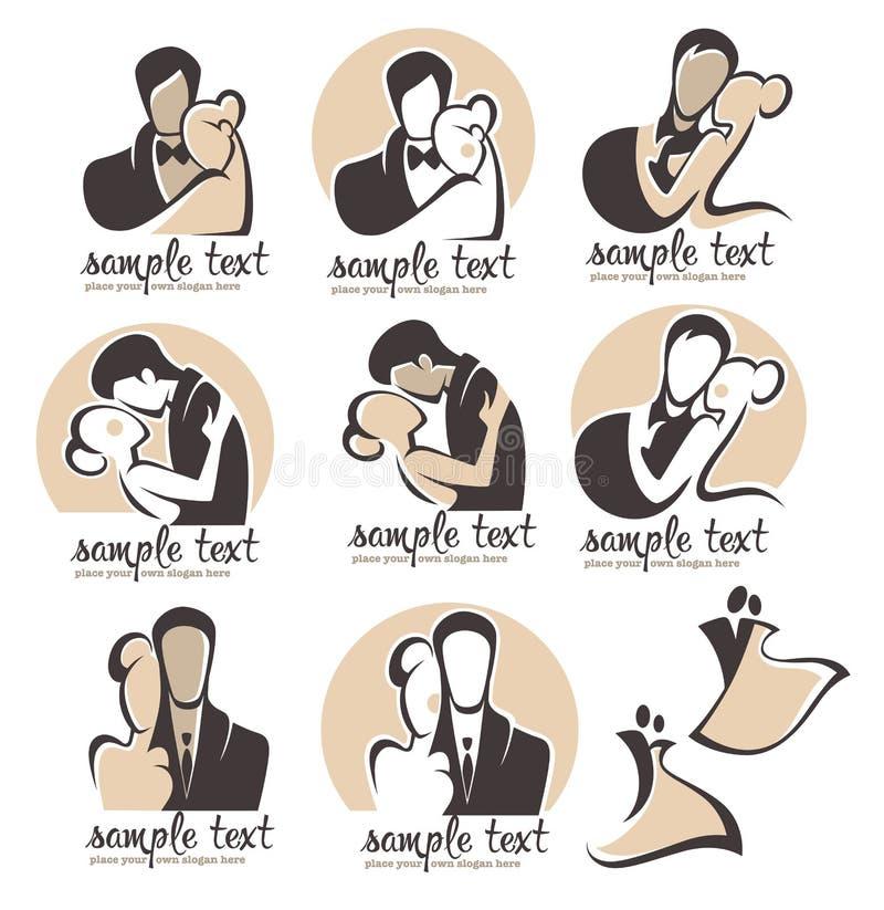 Brölloplogo stock illustrationer
