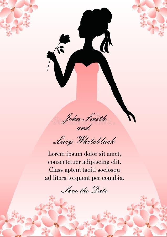 Bröllopmeddelande med konturdamen i rosa kappa med rosa blommor royaltyfri illustrationer
