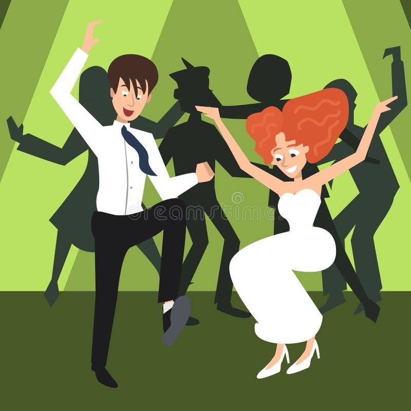 Bröllopparti, dansa för folk royaltyfri illustrationer