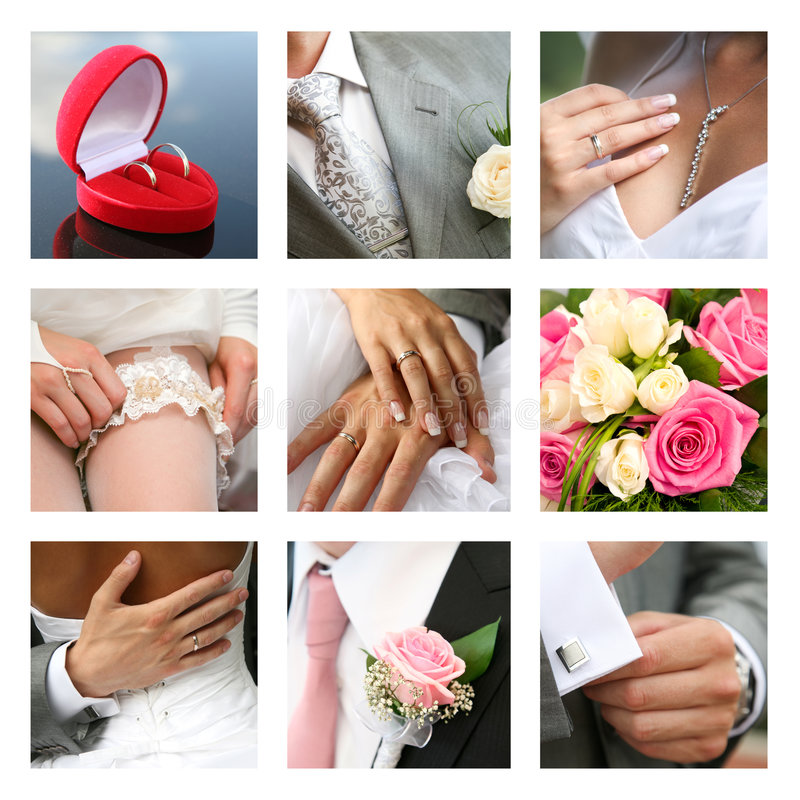 bröllops- collage royaltyfri fotografi
