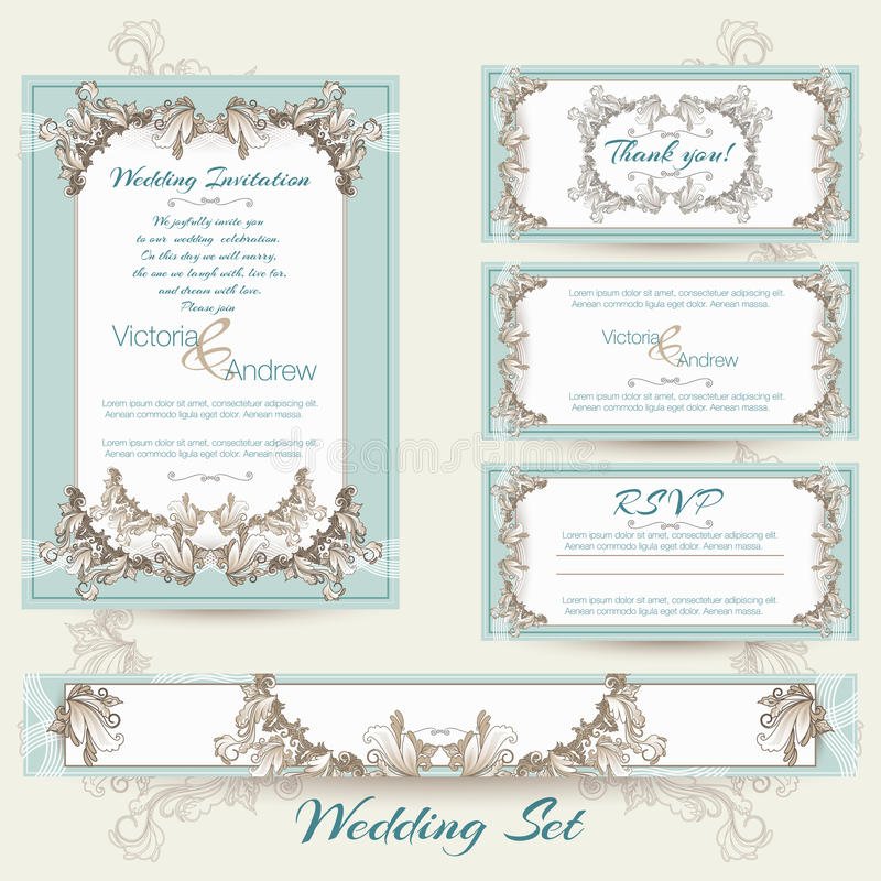 Bröllopsamling i mintkaramellfärg stock illustrationer