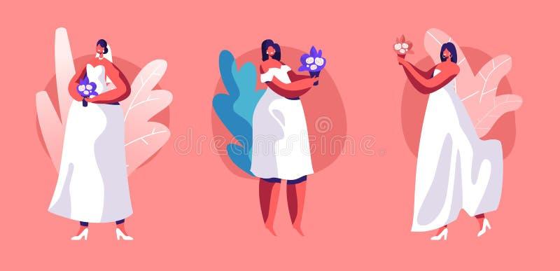 Bröllopset Vacker Brunette Girl in White Dress med Lace, Veil och Bouquet of Flowers i Hands Isolated stock illustrationer