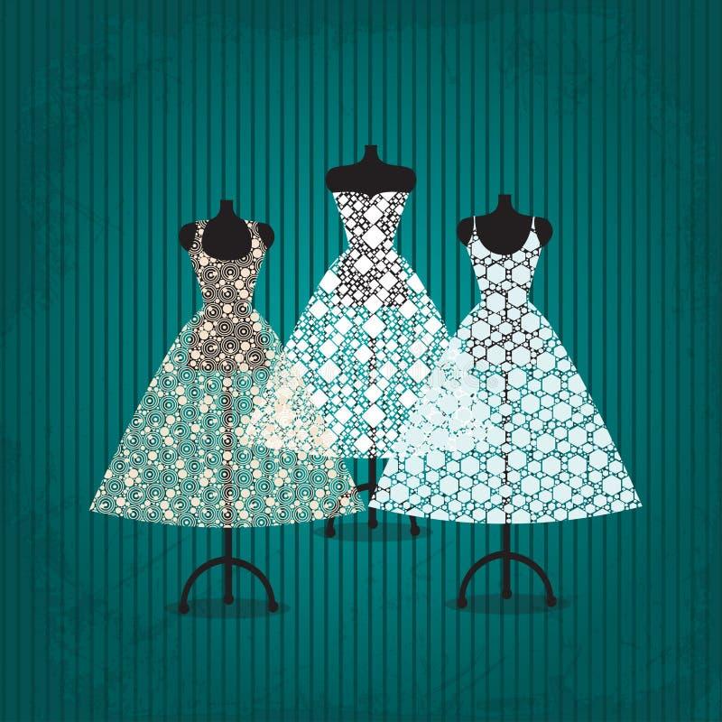 Bröllopsklänning stock illustrationer