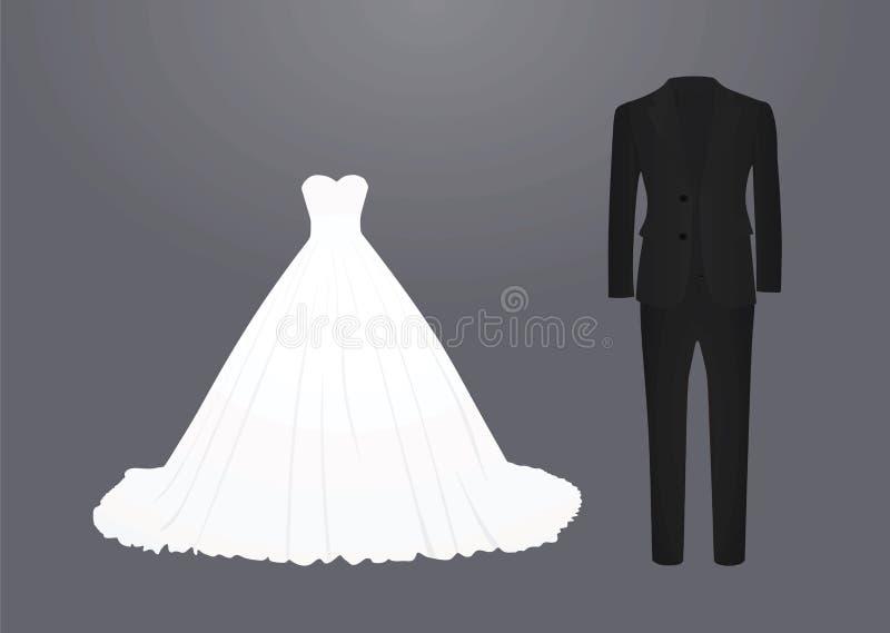 Bröllopsklänning och dräkt vektor illustrationer