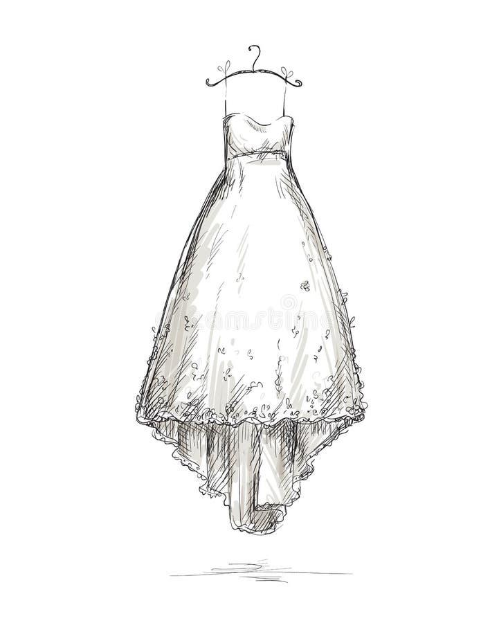 Bröllopsklänning på en hängare, dragen hand. vektor illustrationer