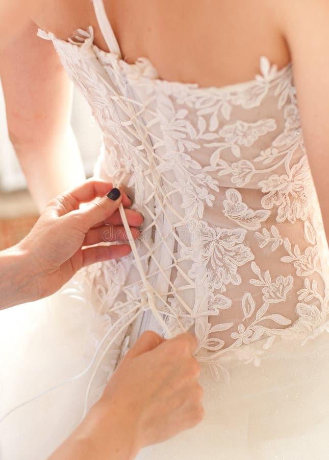 Bröllopsklänningkorsett royaltyfri foto