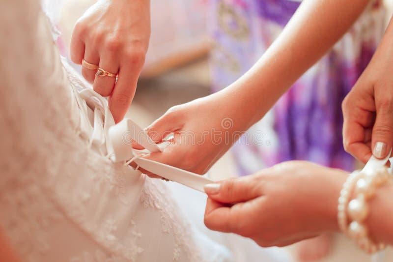 Bröllopsklänningkorsett royaltyfri fotografi